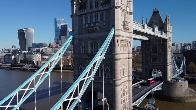 aerial view of tower bridge and the city of london. push-in. - push in stock videos & royalty-free footage