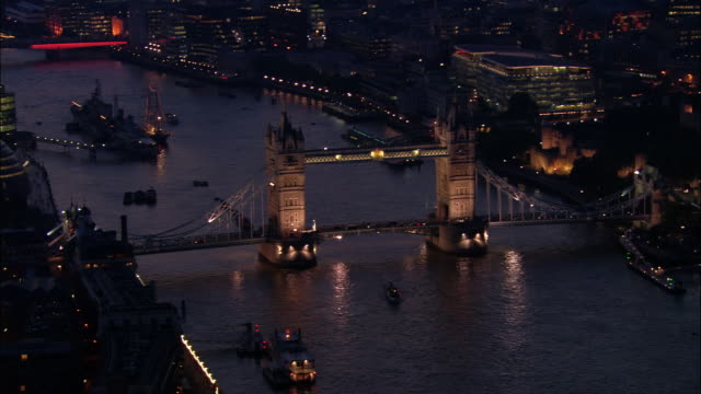 Aerial view of Tower Bridge at dusk or dawn / London, England