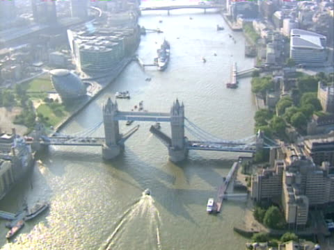aerial view of tower bridge, london. ntsc, pal - river thames stock videos & royalty-free footage