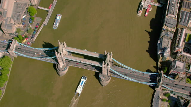 aerial view of tower bridge, london, uk. 4k - brexit stock videos & royalty-free footage