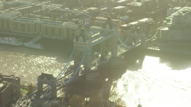 aerial view of tower bridge london uk - river thames stock videos & royalty-free footage