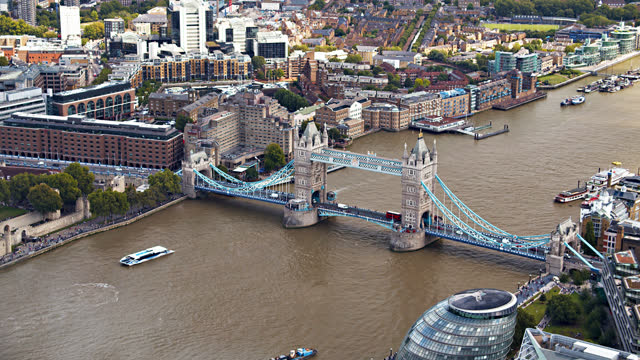 aerial view of tower bridge - central london stock videos & royalty-free footage