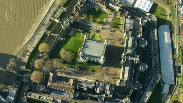 Aerial view of Tower of London by Thames