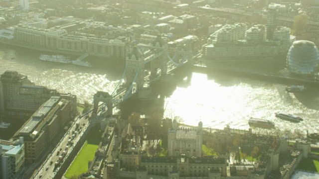 aerial view of tower of london by thames - tower of london stock videos and b-roll footage