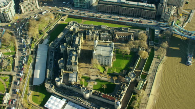 aerial view of tower of london england uk - tower stock videos & royalty-free footage