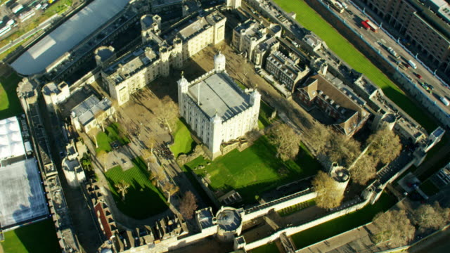 aerial view of tower of london england uk - tower of london stock videos & royalty-free footage