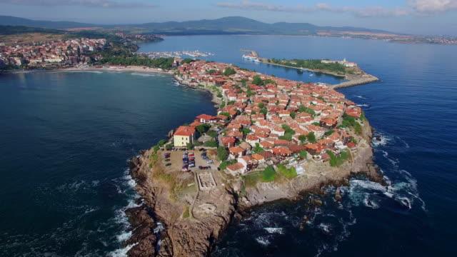 4k aerial view of town of sozopol, bulgaria - bulgaria stock videos & royalty-free footage