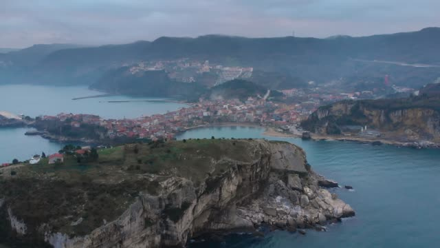 aerial view of townscape of amasra, bartin, turkey - overcast stock videos & royalty-free footage