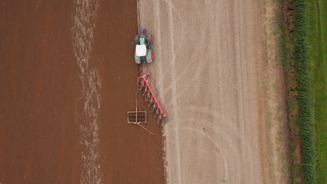 Aerial view of Tractor Ploughing