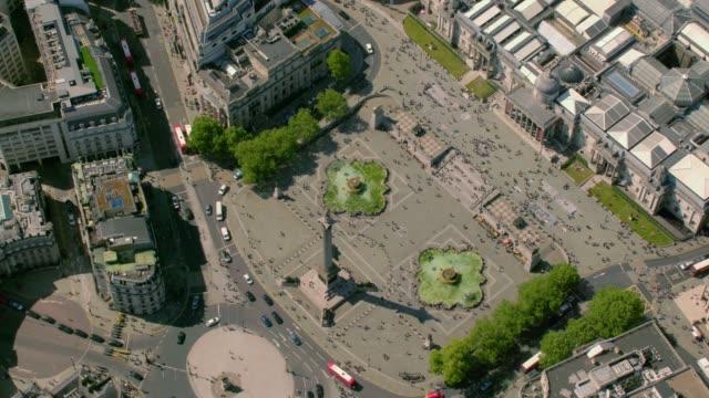 aerial view of trafalgar square, london, uk. 4k - trafalgar square stock videos & royalty-free footage