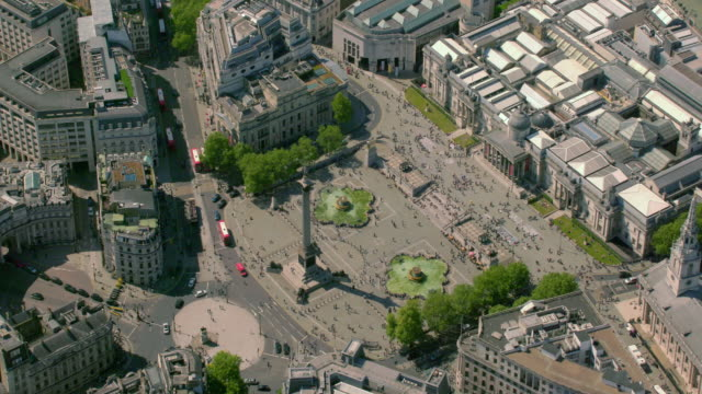 aerial view of trafalgar square, london, uk. 4k - brexit stock videos & royalty-free footage
