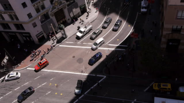 Aerial view of traffic and pedestrians at Market Street and 3rd Street in San Francisco