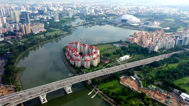 シンガポールのダウンタウン地区でのトラフィックの航空写真 - 名所旧跡点の映像素材/bロール