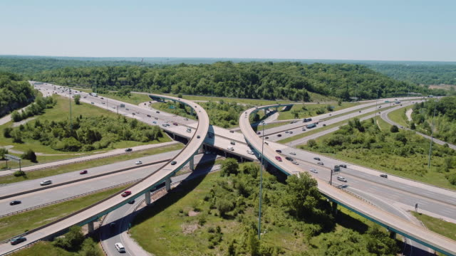 aerial view of traffic at major highway intersection - st. louis missouri stock videos & royalty-free footage