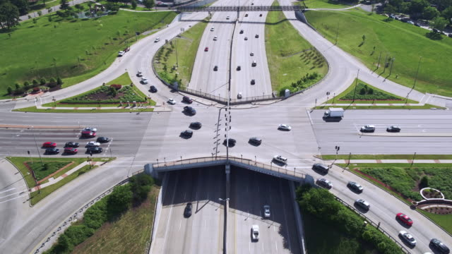 Aerial view of traffic at major highway intersection