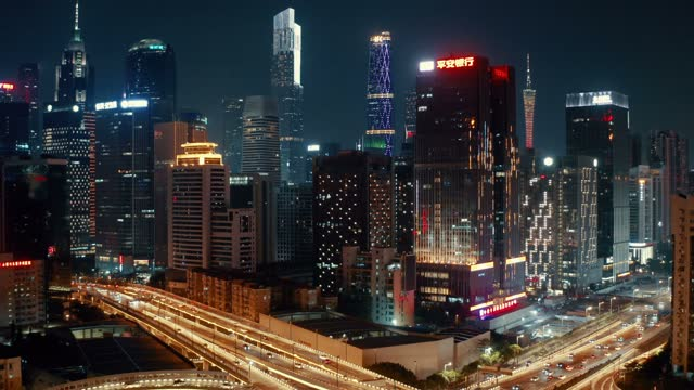 aerial view of traffic at night - guangzhou stock videos & royalty-free footage