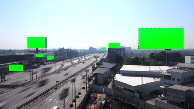 4k: aerial view of traffic bangkok busy highway - exit sign stock videos & royalty-free footage