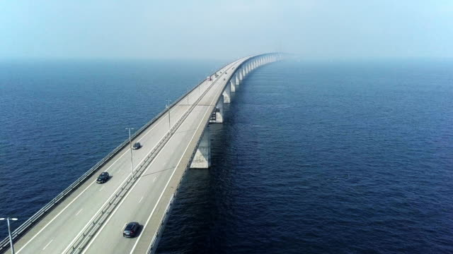 Aerial View of Traffic Crossing Oresund Bridge