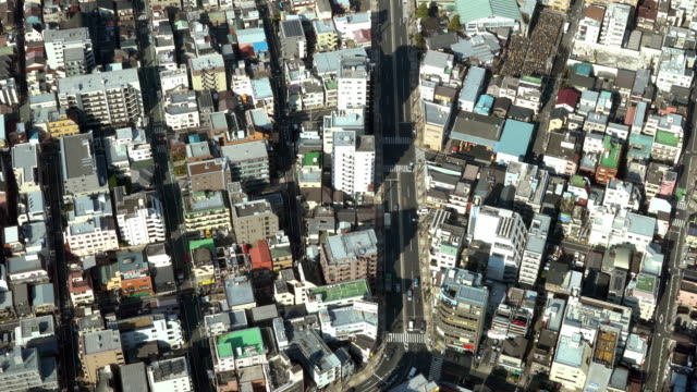 Aerial view of traffic in Tokyo City