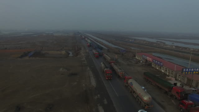 Aerial view of traffic jam in smog on Jan 06 2017 at Dagang Oil Field In Tianjin China