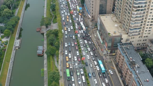 aerial view of traffic jam - moat stock videos & royalty-free footage