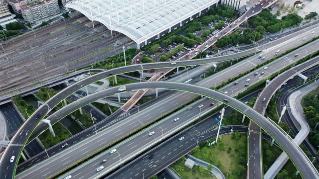 aerial view of traffic landscape with urban viaduct and rail side by side - variation stock videos & royalty-free footage