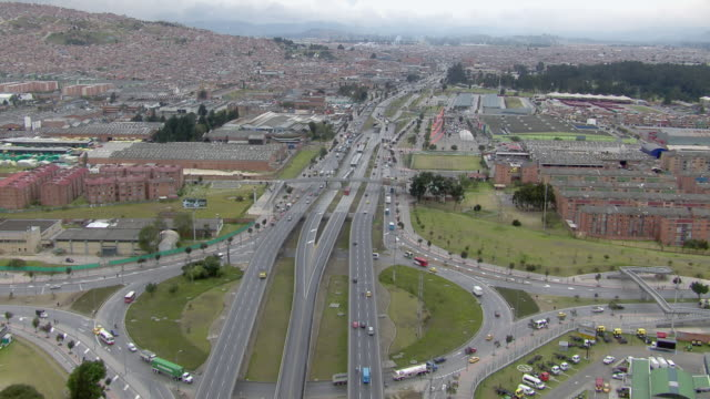 aerial view of traffic moving on autopista norte highway in bogota, colombia - bogota stock videos & royalty-free footage