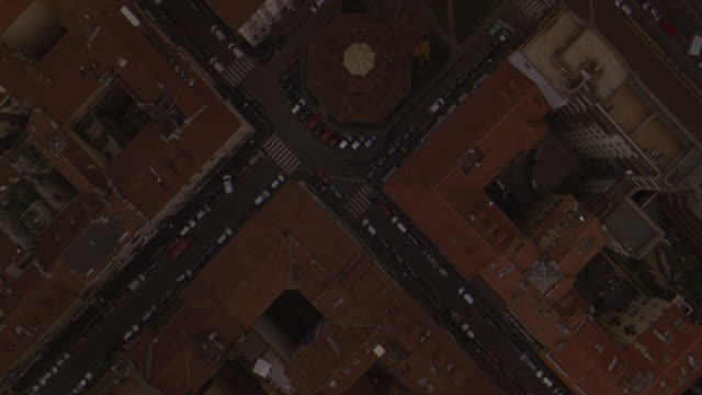 aerial view of traffic moving on the streets in milan. - milan stock videos & royalty-free footage