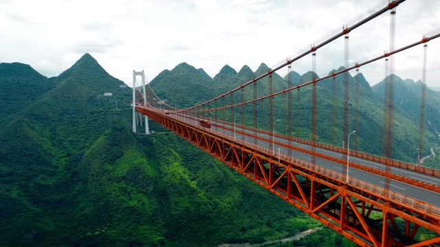 aerial view of traffic on balinghe bridge,guizhou,china. - suspension bridge stock videos & royalty-free footage