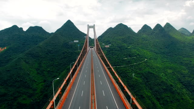 aerial view of traffic on balinghe bridge,guizhou,china. - idyllic stock videos & royalty-free footage