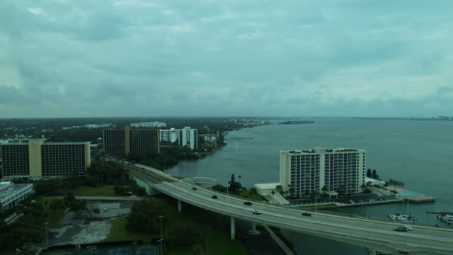 aerial view of traffic on clearwater memorial causeway - gulf of mexico stock videos & royalty-free footage