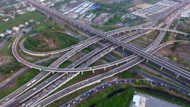 aerial view of traffic on express way in bangkok ,thailand - heart bypass stock videos and b-roll footage
