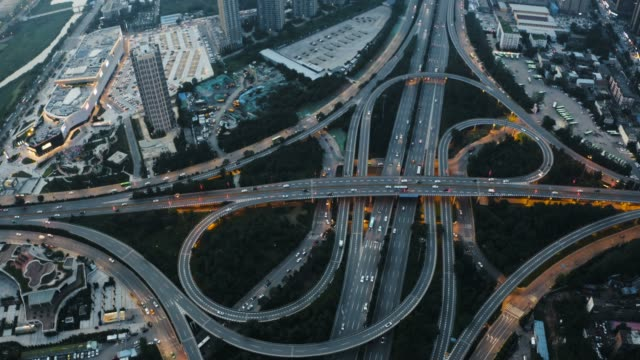 aerial view of traffic on overpass - directional sign stock videos & royalty-free footage