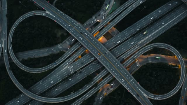 aerial view of traffic on overpass - commercial land vehicle stock videos & royalty-free footage