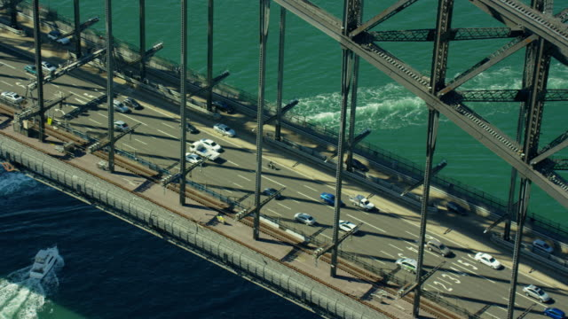 aerial view of traffic on sydney harbor bridge - sydney australia stock videos and b-roll footage