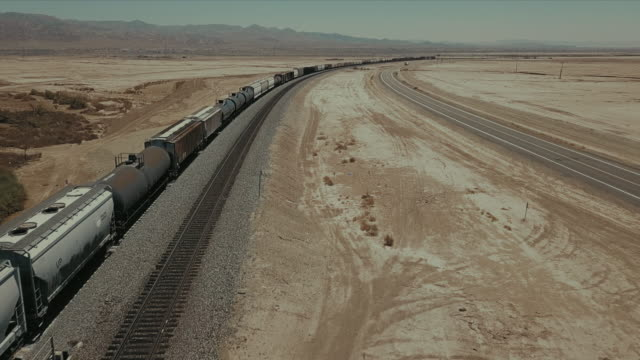 Aerial view of train tracks in the desert.