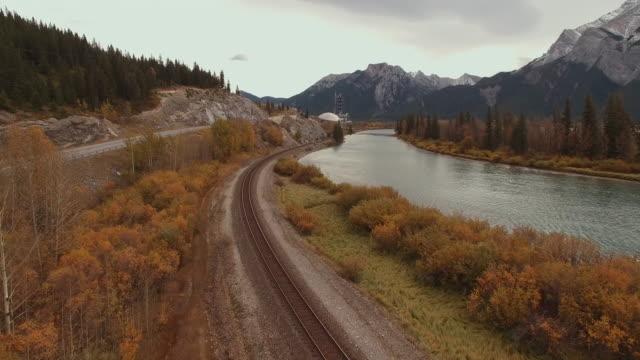 Luftaufnahme des Zuges verfolgt neben alpinen Fluss
