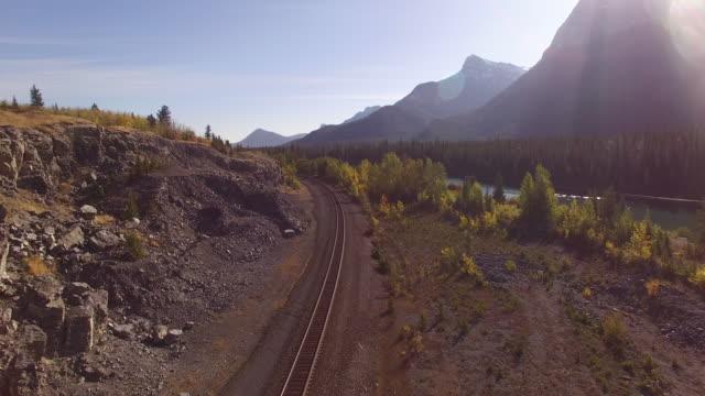 Luftaufnahme des Zuges verfolgt durch Wald entlang
