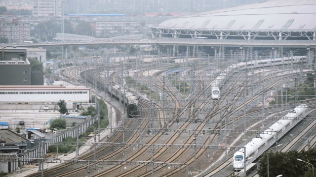 Aerial View of Trains in Railway Station, Beijing, China