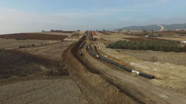 Aerial view of Trans Adriatic Pipeline construction site in Greece