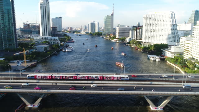 4k : aerial view of transportation in bangkok - bangkok stock videos & royalty-free footage