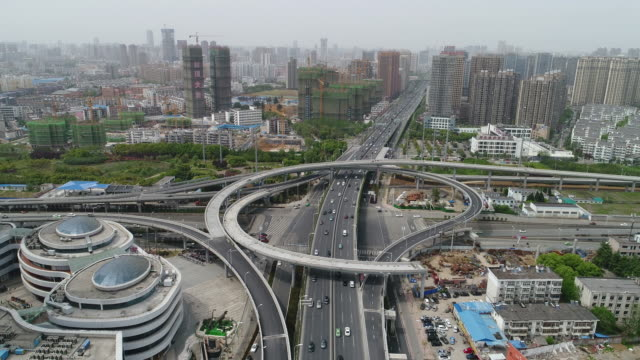 Aerial View of Transportation, Overpass and Construction Site