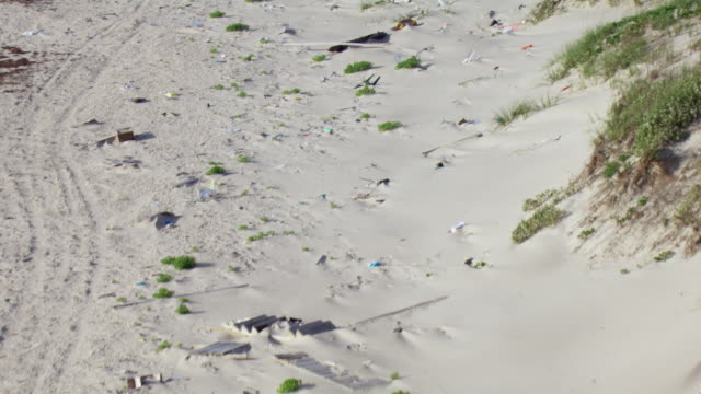 aerial view of trash on beach on north padre island in texas. - littering stock videos & royalty-free footage