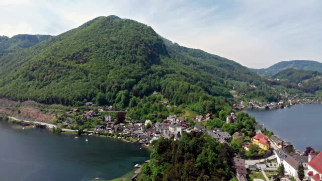 aerial view of traunkirchen - salzkammergut stock videos and b-roll footage