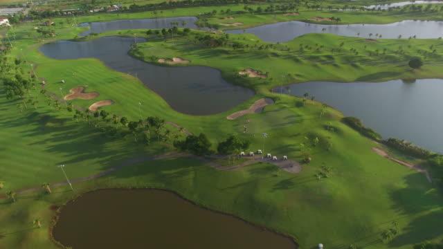 の航空写真木々のゴルフコース - ゴルフのティー点の映像素材/bロール