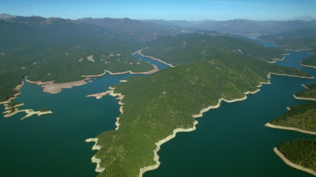 Aerial view of Trinity Lake inlets, Trinity County, Northern California.
