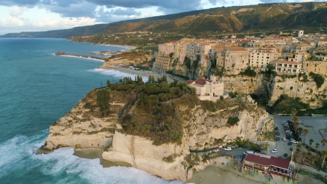aerial view of tropea, a stunning town in the south of italy. 4k - south stock videos & royalty-free footage