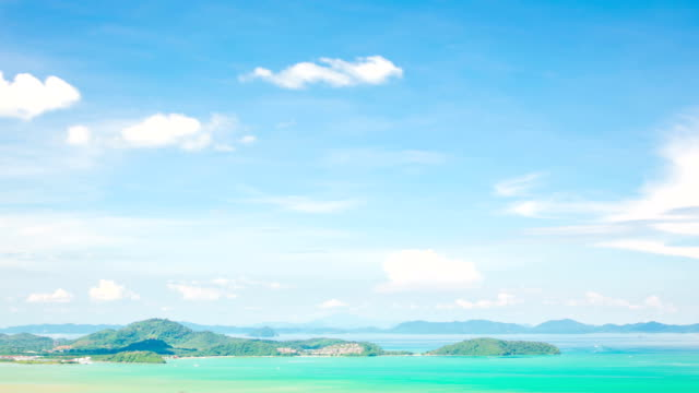 aerial view of tropical andaman sea islands phuket thailand time-lapse - andaman sea stock videos & royalty-free footage