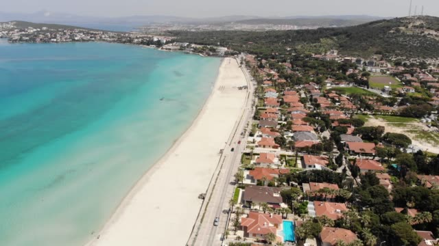 aerial view of tropical beach with holiday villas - izmir stock videos & royalty-free footage