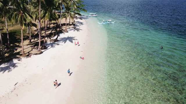 aerial view of tropical beach with palm trees, el nido, philippines - establishing shot stock videos & royalty-free footage